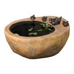 """Everybody's Ayurveda - Large Bird Fountain - Large Bird Fountain. Resin. 26 1/4"""" Wide x 21 1/4"""" Deep x 10 1/2"""" Tall. Crafted with weather resistant resin, this beautiful fountain can be utilized indoors or out. Perfect in a small garden or quiet outdoor patio, the soothing sounds of the water will bring you relaxation. Pump is adjustable to control water flow. Distilled water is suggested for use."""