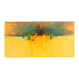 'Out Stretched' Original Painting - If you want to infuse big color and passion into your living space, this abstract piece by artist Dan Nash Gottfried is a revelation. Colors sweep across a glorious golden background, implying wonder and perhaps a mysterious destination. Ponder where you want to go each time you gaze upon it and plot outrageous adventures with your friends.