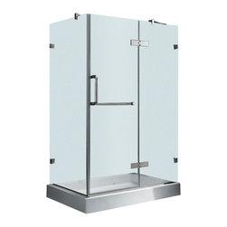 """Vigo - Vigo 32 x 40 Frameless 3/8 Shower Enclosure with Right Base (VG6011CHCL40WR) - Vigo VG6011CHCL40WR 32"""" x 40"""" Frameless 3/8"""" Shower Enclosure with Right Base, Clear and Chrome"""