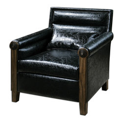 "Uttermost - Ormond Leather Armchair - The Quintessential Club Chair Modernized With Sleek, Horizontal Channel Tufting, Squared Off Back And Rolled Arms With Metal Bull's-eye Detail. Breathable And Cleanable, Black Faux Leather With Solid Pine Frame. Pillow Included. Seat Height Is 19""."