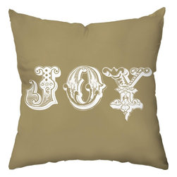 Checkerboard Ltd - Vintage Joy Decorative Throw Pillow - 18 inch by 18 inch - Our stylized JOY is sure to light up the room at the holidays and for the rest of the year if desired.  Our softly textured cotton/polyester fabric is long-lasting, wrinkle-resistant and feels as great as it looks.