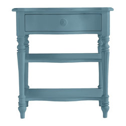 Stanley Furniture - Coastal Living Cottage-Bedside Table - Simple, stylish, this tiny bedside stunner recalls mornings on the Maine coast. Chamfered legs and arched front drawer panel are muted in white, nautical in red.