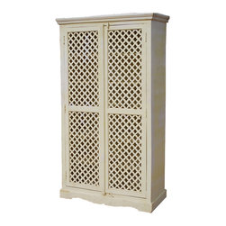 Farmhouse White Solid Wood Storage Cabinet Lattice Door Armoire - Lack of closet space never has to be a problem. Armoires allow you to create instant closets in almost any room.