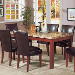 "Coaster - Telegraph Collection Dining Table in Medium Brown - This casual dining set is the idea accent for any dining room. It features a medium brown finish, classy marble like veneer table top and wood construction. Chairs feature cushioned seats and backs are wrapped in durable leather-like vinyl. They are available in black and brown or micro fiber.; Casual Style; Telegraph Collection; Finish: Medium Brown; No assembly required.; Dimensions: 64""L x 38""W x 31""H"