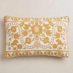 Yellow Mindhi Lumbar Pillow - This fun lumbar pillow dressed in yellow will add cheer to any chair.