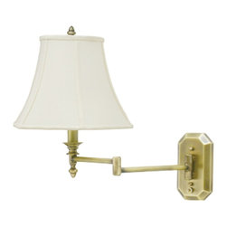 "Lamps Plus - Traditional Antique Brass Bell Shade Plug-In Swing Arm Wall Lamp - Light up your living room with this signature wall lamp. Features an antique brass finish arm and octagonal backplate with a bell shaped shade. The swing arm feature allows you to adjust the light position while the high-low switch on the backplate offers an adjustable light output option. Antique brass finish. Deep bell shade. Plug-in style with 30"" cord cover included. Takes one 100 watt bulb (not included). 16"" high. Extends 19"" from the wall. Backplate is 6 1/4"" high 3 1/2"" wide. Bell shade is 5 1/2"" across the top 12"" across the bottom and 8 1/2"" high.  Antique brass finish.   Deep bell shade.   Plug-in style with 30"" cord cover included.   Takes one 100 watt bulb (not included).   16"" high.   Extends 19"" from the wall.   Backplate is 6 1/4"" high 3 1/2"" wide.   Bell shade is 5 1/2"" across the top 12"" across the bottom and 8 1/2"" high."