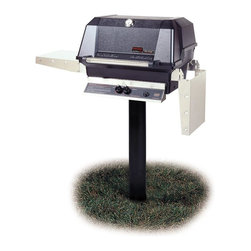 """MHP Grills - 40000 BTU LP Gas Grill Head & In-Ground Post Set - Includes 40000 BTU gas grill head and gound post. 40000 BTU gas grill head:. 642 sq. in. of total cooking area. 40,000 BTU rated per-hour input. 0.31 in. 2-Piece stainless steel cooking grid. Stainless steel swing-away warming rack. High profile lid to handle all rotisserie functions, accommodating large cuts of meats and big Tom turkeys . Stainless steel fold down shelves. Ground post:. Includes stainless steel grease cup for grill head.  4 in. Post fits all models and for natural or LP gas installation. 48 in. No-rust anodized aluminum in-ground post with stainless steel tubing. Fits model JNR, WNK, WRG, TJK,TRG, WRG and THRG. Lifetime warranty on all grill housing, mounting, burners, cooking grids and warming racks. 5-Year warranty on infrared burners, venturi tubes and flavor master briquettes. 1-Year warranty on all other components. Assembly required""""Our Most Popular Model"""". Chef's Choice grills are built of the finest grade weather-resistant materials. Permanent mold cast aluminum housing, not die-cast."""