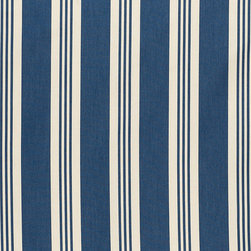 "Ballard Designs - French Stripe Navy EasyCare Fabric by the Yard - Content: Solution-dyed Acrylic. Repeat: Non-railroaded fabric, 7.09"" Repeat. Care: Spot clean with mild soap. Width: 63"" wide. Navy and cream French stripe woven in washable, EasyCare acrylic.. . . . Because fabrics are available in whole-yard increments only, please round your yardage up to the next whole number if your project calls for fractions of a yard. To order fabric for Ballard Customer's-Own-Material (COM) items, please refer to the order instructions provided for each product.Ballard offers free fabric swatches: $5.95 Shipping and Processing, ten swatch maximum. Sorry, cut fabric is non-returnable."