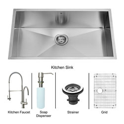 """Vigo - All in One 30"""" Undermount Stainless Steel Kitchen Sink and Faucet Set - Enhance the look of your kitchen with a VIGO All in One Kitchen Set featuring a 30"""" Undermount kitchen sink, faucet, soap dispenser, matching bottom grid and sink strainer.; This single bowl sink is manufactured with 16 gauge premium 304 Series stainless steel construction with commercial grade premium scratch resistant satin finish; Fully undercoated and padded with a unique multi layer sound eliminating technology, which also prevents condensation.; All VIGO kitchen sinks are warranted against rust; Distinctive angular zero radius corner design with rear standard 3 1/2"""" drain placement; Exterior dimensions: 30"""" W x 19"""" D; Interior dimensions: 28"""" W x 17"""" D; Depth: 9 7/8""""; Required interior cabinet space: 32""""; Kitchen sink is cUPC and NSF-61 certified by IAPMO; All mounting hardware and cutout template provided for 1/8"""" reveal or flush installation; Sink model: VG3019B; Faucet features a spiral pull-down spray head for powerful spray and separate spout for aerated flow, and is made of solid brass with a stainless steel finish.; Includes a spray face that resists mineral buildup and is easy-to-clean; High-quality ceramic disc cartridge; Retractable 360-degree swivel spout expandable up to 20""""; Single lever water and temperature control; All mounting hardware and hot/cold waterlines are included; Water pressure tested for industry standard, 2.2 GPM Flow Rate; Standard US plumbing 3/8"""" connections; Faucet height: 28""""; Spout reach: 8 5/8""""; Faucet sprayer reach: 12""""; Kitchen faucet is cUPC, NSF-61, and AB1953 certified by IAPMO.; Faucet is ADA Compliant; 2-hole installation with soap dispenser; Faucet model: VG02006ST; Soap dispenser is solid brass with an elegant stainless steel finish and fits 1 1/2"""" opening with a 3 1/2"""" spout projection.; Matching bottom grid is chrome-plated stainless steel with vinyl feet and protective bumpers.; Sink strainer is made of durable solid brass in chrome fi"""