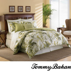 Tommy Bahama - Tommy Bahama Island Botanical 4-piece Comforter Set - Treat your bedroom to this four-piece comforter set from Tommy Bahama. This set features a lively tropical pattern in white and green. Made from 100 percent cotton material, this reverse pattern collection is also machine washable.