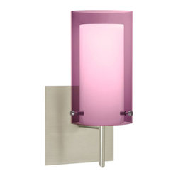 Besa Lighting - Pahu Satin Nickel One-Light Halogen Square Canopy Wall Sconce with Transparent A - - The Trans-Amethyst colored blown glass complements the soft white Opal cased glass, which can suit any classic or modern decor. Opal has a very tranquil glow that is pleasing in appearance, as the Trans-Amethyst glass sparkles with the accents from that glow. The smooth satin finish on the opal?s outer layer is a result of an extensive etching process. This blown glass combination is handcrafted by a skilled artisan, utilizing century-old techniques passed down from generation to generation.  - Bulbs Included  - Shade Ht (In): 7  - Shade Wd/Dia (In): 4  - Canopy/Fitter Ht (In): 5  - Canopy/Fitter Dia/Wd (In): 5  - Title XXIV compliant  - Primary Metal Composition: Steel  - Shade Material: Glass  - NOTICE: Due to the artistic nature of art glass, each piece is uniquely beautiful and may all differ slightly if ordering in multiples. Some glass decors may have a different appearance when illuminated. Many of our glasses are handmade and will have variances in their decors. Color, patterning, air bubbles and vibrancy of the d�cor may also appear differently when the fixture is lit and unlit. Besa Lighting - 1SW-A44007-SN-SQ