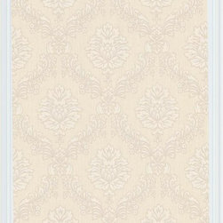 Graham and Brown - Costello Wallpaper - Cream - Costello is an in-register small scale damask wallpaper with a jacquard stitch effect into the Harvey plain background.