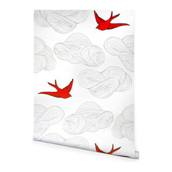 Hygge & West - Daydream Wallpaper - Birds soar among the clouds on high-quality coated wallpaper that's as durable as it is dreamy. Made in the USA, it employs a unique screen-printing technique to achieve a hand-painted appearance and texture.