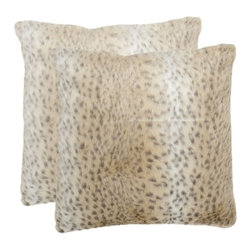 Safavieh - Snow Leopard Accent Pillow - White - Snow Leopard Accent Pillow - White
