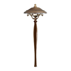 "Hinkley - Contemporary Hinkley Royal Bronze Low Voltage Path Light - From Hinkley this decorative light is ideal for path lighting or for use in flower beds. It features a fluted shade and flourished support arms. Comes in a lustrous royal bronze finish. Use with your existing low voltage landscape lighting systems. Royal bronze finish. Includes one 18 watt wedge base bulb. 22"" high. 8"" wide.  Royal bronze finish.   Includes one 18 watt wedge base bulb.   22"" high.   8"" wide."
