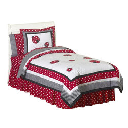 Sweet Jojo Designs - Little Ladybug Bedding Set Full/Queen (3 Pc.) - The Little Ladybug Bedding set by Sweet Jojo Designs will help you create an incredible room for your child. This whimsical girl bedding set combines solid fabrics with gingham and polka dot prints. The ladybug appliques complete the look in the modern polka dot fabric and precious embroidered swirls. This collection uses the stylish colors of Red, Black and White. This bedding set uses 100% cotton fabrics that are machine washable for easy care.