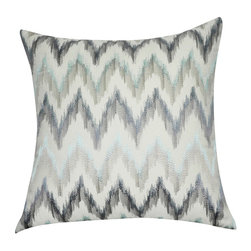 "Loom and Mill - Loom and Mill P0195-2121P 21"" x 21"" Blue Chevron Decorative Pillow - This embroidered Ikat Chevron decorative pillow is elegant and edgy. Its quality construction and soft cotton shell make this pillow a fabulous addition to any home.  Spot clean only."