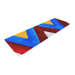 "KESS InHouse - Brittany Guarino ""Zig Zag"" Yoga Mat - Release your inner yogi in style with these artistically unique yoga exercise mats. These mats allow you to stretch and pose freely and comfortably as they are 72"" x 24""! Made of a durable, textured non-slip backing foam, these 1/4"" thick mats will cushion your body to allow you to child's pose and more during your workout routine. Carry your lightweight mat in a polyester blend bag with an adjustable shoulder strap for easy travel and clean up. These yoga exercise mats can be cleaned with a swipe of a towel and mild soap."