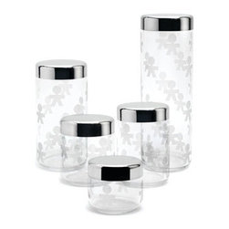 Alessi - Alessi AKK35 Girotondo Container - Jar in silk-screen glass with hermetic lid in steel mirror polished. Available in five sizes. Manufactured by Alessi.