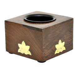 SouvNear - SouvNear Small Square Wooden Candle Tealight Holder with Lotus Leaf Brass Motifs - * Cube shaped tealight candle holder, handmade in solid rosewood - good for a lifetime
