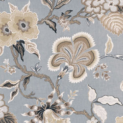 Hot House Flowers - Mineral - Tropical, traditional, and, best of all, fun, this fabric would be the perfect way to add interest in a neutral-toned space.