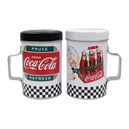 "Westland - 4 Inch Coca-Cola ""Pause and Refresh"" Tin Salt and Pepper Shakers - This gorgeous 4 Inch Coca-Cola ""Pause and Refresh"" Tin Salt and Pepper Shakers has the finest details and highest quality you will find anywhere! 4 Inch Coca-Cola ""Pause and Refresh"" Tin Salt and Pepper Shakers is truly remarkable."