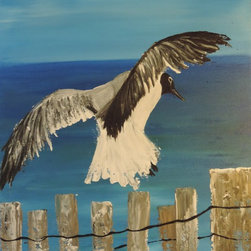 "CynthiaToddArt - Painting - ""Sea Bird Landing"" - Sea Bird Landing is a one of a kind original painting by Cynthia Todd. This whimsical work invites relaxation as it evokes a sense of grounding or centering oneself.  The canvas is stretched on a wooden slim profile frame. It is ready to hang with museum painted edges, and signed by the artist."