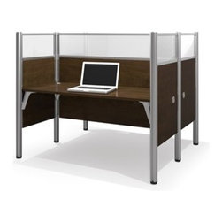 Bestar - Bestar Pro-Biz Chocolate 63 x 56 Rectangular Face-to-Face Workstation Desk - Double face to face workstation. 55 1/2 inch high melamine and acrylic glass privacy panels. Deep Dark Chocolate finish. All melamine. Efficient wire management with grommets and under-desk eyelets. Shock resistant PVC edge detail. Finished back. Meets or exceeds furniture industry (ANSI / BIFMA) performance standards. Packaging made from 100% recyclable material. Four way I-Beam aluminum post for quick and easy installation with slide lock assembly. Adjustable legs. Smart design proven durability harmoniously combined with easy assembly in the Pro-Biz collection. This collection was built for dynamic companies that want to maximize their space. Pro-Biz offers endless configurations allowing your vision to become reality and it can easily be re-arranged to suit your future needs.Nowadays performance productivity and quality of life are fundamental to achieving our personal and professional goals. Bestar's home and office furniture design is based upon these criteria as well as on today's reality. On average we spend about 40 hours a week at work (home or office) which represents a large portion of our time. Various factors have a direct impact on our well-being at work: an important concern in the current employment environment continually changing and at an ever-increasing pace. Therefore organizing your space is certainly a parameter to consider. Features include Strong robust and durable furniture Adaptable aluminum legs to support standard and quad configurations Safe and high-quality furniture. Specifications Finish/color: Chocolate.