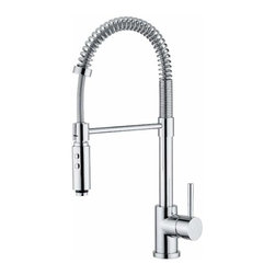 WS Bath Collections Fittings Polished Chrome Two-spray Kitchen Faucet - This is a gorgeous option in a more industrial look. It's expensive, but I like its sleek design.