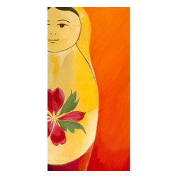 Emma at Home - Matryoshka Half-Face Canvas Artwork - This Russian nesting doll is so charming. How could she not make you smile? The colors are so bright and vibrant, it's hard to believe it's a reproduction.