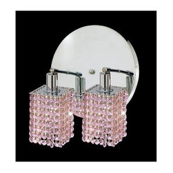 Elegant Lighting - Mini Rosaline Crystal Sconce w 2 Lights in Chrome (Strass Swarovski) - Choose Crystal: Strass Swarovski. Bulbs not included. Crystal Color: Rosaline (Pink). Chrome finish. Number of Bulbs: 2. Bulb Type: GU10. Bulb Wattage: 55. Max Wattage: 110. Voltage: 110V-125V. Assembly required. Meets UL & ULC Standards: Yes. 9 in. D x 13.5 in. H (6lbs.)Description of Crystal trim:Royal Cut, a combination of high quality lead free machine cut and machine polished crystals & full-lead machined-cut crystals..SPECTRA Swarovski, this breed of crystal offers maximum optical quality and radiance. Machined cut and polished, a Swarovski technician¢s strict production demands are applied to this lead free, high quality crystal.Strass Swarovski is an exercise in technical perfection, Swarovski ELEMENTS crystal meets all standards of perfection. It is original, flawless and brilliant, possessing lead oxide in excess of 39%. Made in Austria, each facet is perfectly cut and polished by machine to maintain optical purity and consistency. An invisible coating is applied at the end of the process to make the crystal easier to clean. While available in clear it can be specially ordered in a variety of colors.Not all trims are available on all models.