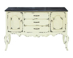 Woodland Imports - Rustic Cabinet Antique Ivory White Black Wood Drawers Storage Decor 35020 - Rustic cabinet in antique finish ivory white and black wood with 2 compartments and 3 drawers spacious storage decor
