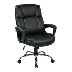 Office Star - Office Star EC Series Eco Leather Chair with Padded Arms in Black - Office Star - Office Chairs - EC1283CEC3 - Executive Eco-Leather Big Mans Chair with Padded Loop Arms and Chrome Base. Supports up to 350 lbs. Pneumatic seat height adjustment 360 degree swivel seat pivot tilt with tilt tension and tilt lock.