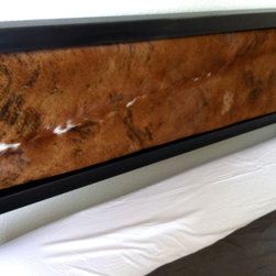 MODERN BED IN DENVER, COLORADO-Cowhide headboard - Industrial style meets minimalism. The strong, clean-lined