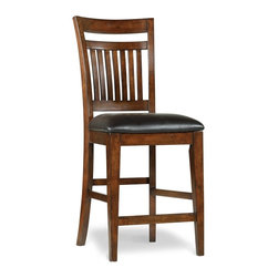 """Hooker Furniture - Wendover Counter Height Chair - White glove, in-home delivery included!  The Wendover Collection is crafted from poplar solid and cherry veneers.  It features a light physical distressing.  Bonded leather seat.  Seat height: 24"""" h"""