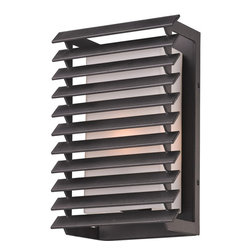 Troy Lighting - Troy Lighting Shutters Outdoor Wall Sconce X-1033B - Update the look of any space with this 11-inch-tall, Troy Lighting Shutters Outdoor Wall Sconce. It features a matte opal glass shade which peeks through from behind row of shutters. It's a bold, hand-worked wrought iron fixture in a forged iron finish, and one which will take command of any outdoor space.