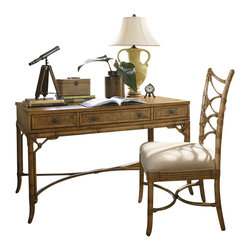 Tommy Bahama Home - Tommy Bahama Home Beach House Clearwater Writing Desk in Golden Umber - Tommy Bahama Home - Writing Desks - 010540933 - Island inspired framed rattan drawers with bent rattan stretcher bound by leather wrappings. The three drawer desk provides ample space for pens and paper, laptop or iPad.