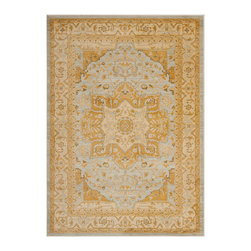 """Safavieh - Charee Rug, Light Grey / Gold 9'6"""" X 13' - Construction Method: Power Loomed. Country of Origin: Turkey. Care Instructions: Vacuum Regularly To Prevent Dust And Crumbs From Settling Into The Roots Of The Fibers. Avoid Direct And Continuous Exposure To Sunlight. Use Rug Protectors Under The Legs Of Heavy Furniture To Avoid Flattening Piles. Do Not Pull Loose Ends; Clip Them With Scissors To Remove. Turn Carpet Occasionally To Equalize Wear. Remove Spills Immediately. The dramatic patterns of heirloom Serape, Sultanabad and Oushak rugs are recreated for 21st century lifestyles in the Austin Collection. Power-loomed of long-wearing, easy-care polypropylene, each rug stands up to heavy traffic while adding timeless beauty to entry hall, living room, kitchen and more."""