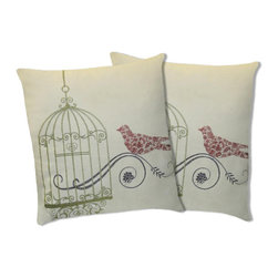 Lush Decor - Lush Decor Dream Bird Green Decorative Pillows (Set of 2) - This pillow showcases a unique 'dream bird' pattern. The pillow features embroidery details on cotton fabric and a soft feather and down interior.