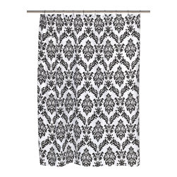 """""""Regal"""" Fabric Shower Curtain with Poly Taffeta Flocking in Black/White - """"Regal"""" 100% polyester fabric shower curtain with flocking, color black on white. Our """"Regal"""" Shower Curtain will not only give your bathroom added sophistication, it will also bring some added dimension to your bathroom's decor. Unlike the ordinary two-dimensional shower curtain, this standard-sized (70'' wide x 72'' long) curtain has poly taffeta flocking, giving texture to its otherwise regal design. """"Regal"""" is 100% polyester and remains fully machine washable. Here in Black on White, """"Regal"""" is also available in black on brown. Machine wash in warm water, tumble dry, low, light iron as needed"""