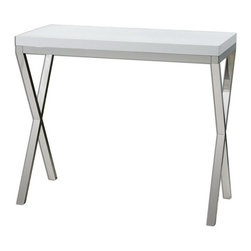 Uttermost - Uttermost 24386  Bjorn Modern Console Table - Chrome metal base with gloss white, crocodile-embossed, polyurethane tabletop.