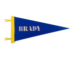 Letter2Word - Patrioic Blue Personalized Stencil Pennant - Cheer on little athletes with this customized pennant, perfect for giving rooms a touch of sporty style.   11' W x 22'' L Made in the USA