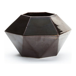 KL Studios - Angle Vase, Gunmetal - Perfect for indoor / outdoor use. Ceramic with glossy glaze.