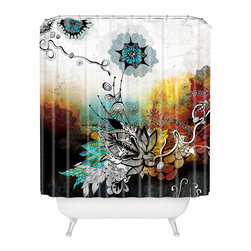 "DENY Designs - Iveta Abolina ""Frozen Dreams"" Shower Curtain - Unleash your inner hippie-geisha with this shower curtain. The detailed, black stylized flowers and tendrils pop against a dramatic background reminiscent of Japanese silkscreen — and cosmic Woodstock posters. Get your geisha groove on."