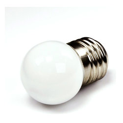 E27 LED Bulb, 8 LED - E27-x8-G series globe type LED replacement bulb for traditional medium screw base lamps. Light output comparable to 5~10 Watt incandescent bulbs. Consumes 1.9 Watts of power using 8 LEDs. Available in Cool White, Warm White, Green, Blue, Red, or Amber with 360° beam pattern.
