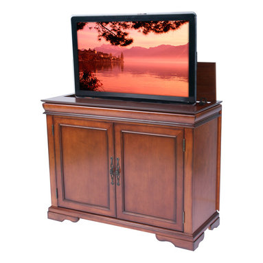 """Touchstone Home Products - Tremont Brandy TV Lift Cabinet for Flat Screen up to 46"""" - The Tremont offers an elegant alternative to our full-sized product line. The solid birch with a brandy veneer finish accommodates plasma and LCD TV's up to 46"""" wide by 32"""" tall. Features ample storage for two components and smart shelving capabilities that enable you to customize each level to fit an array of DVDs, CDs, and video games. The classically styled Tremont TV lift cabinet shows the natural beauty of the brandy finished wood on the front and sides and offers easy access to the cables and TV connections through the sliding rear panels on the back of the cabinet."""