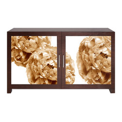 Sepia Peony Cabinet - Our Sepia Peony Cabinet is a custom designed and handcrafted side cabinet with wood frame and sepia-toned, acrylic, photographic image of peonies, with brushed aluminum handles. Includes adjustable shelf.