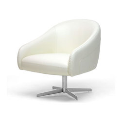 Baxton Studio - Baxton Studio Balmorale Ivory Leather Modern Swivel Chair - The stately Balmorale Club Chair is the perfect place to sit in style in a home or office.  Minimalist and modern, the chair is made with crisp ivory leather atop foam cushioning and a wooden frame.  Included is a steel base with a matte finish, which gives the chair a 360 degree swivel feature.  Non-marking feet protect sensitive flooring.