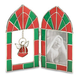 """Koolekoo - Angel Stained Glass Frame - Tuck your most treasured memories into this traditional red and green frame. The dangling angel charm in the opposite pane adds just the right amount of whimsy to this adorable keepsake! Holds 2.5"""" x 3.5"""" photo."""