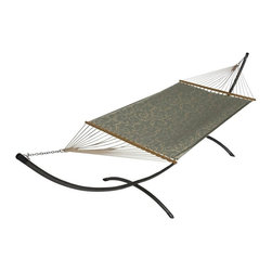 Phat Tommy - Sunbrella Hammock in Cabaret Blue Haze - The Phat Tommy Sunbrella Dupione Hammock is part of Outdoor Oasis Line and is our most durable and beautiful outdoor hammock. For your outdoor room or by the pool, Phat Tommy Sunbrella products give you the sophisticated style you want with the protection you need. Sunbrella's tough, long-lasting fabrics handle the worst Mother Nature can give, year after year. From the baking sun to endless rain, Phat Tommy Outdoor Oasis products look great in any season.